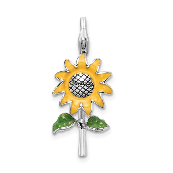 Sterling Silver 3-D Enameled Sunflower with Lobster Clasp Charm