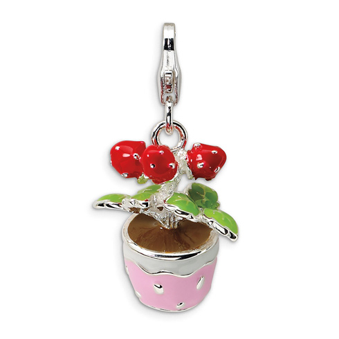 Sterling Silver 3-D Enameled Flowers in Pot with Lobster Clasp Charm