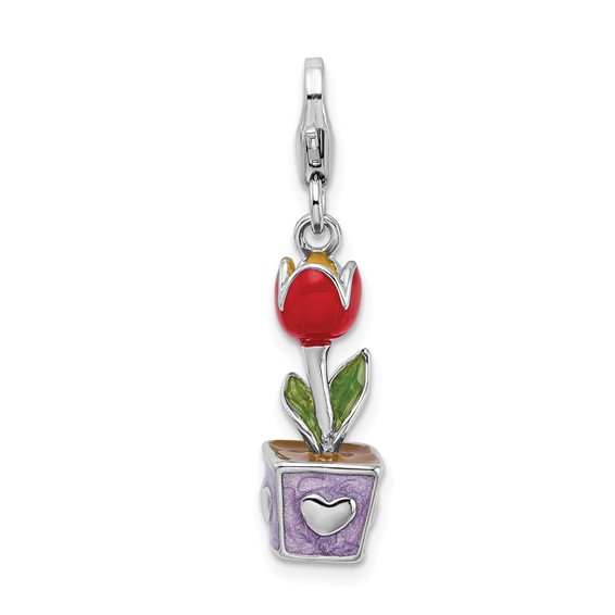 Sterling Silver 3-D Red Enamel Potted Tulip Flower Charm with Lobster Clasp