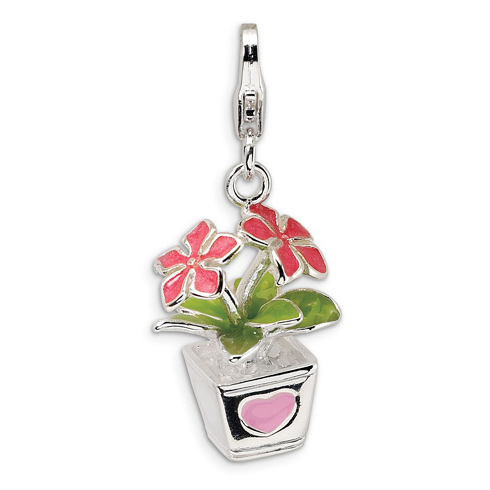 Sterling Silver 3-D Enameled Potted Flowers with Lobster Clasp Charm