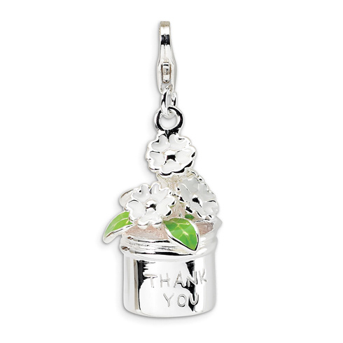 Sterling Silver 3-D Enameled Thank You Flowers with Lobster Clasp Charm