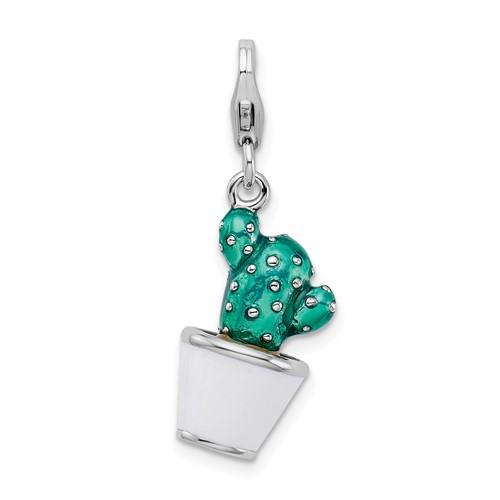 Sterling Silver 3-D Enameled Potted Green Cactus with Lobster Clasp Charm