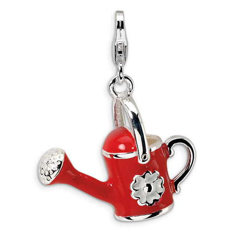 Sterling Silver 3-D Enameled Red Watering Can with Lobster Clasp Charm