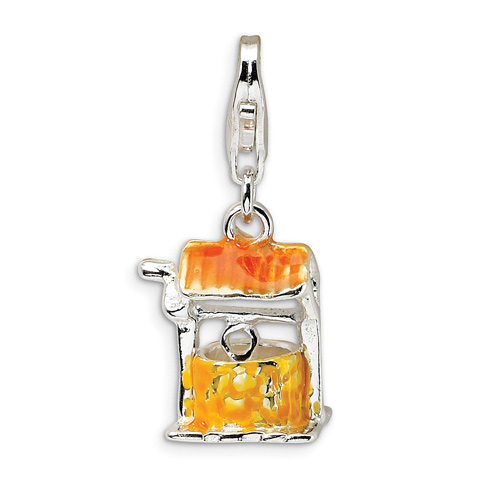 Sterling Silver Enameled Well with Lobster Clasp Charm