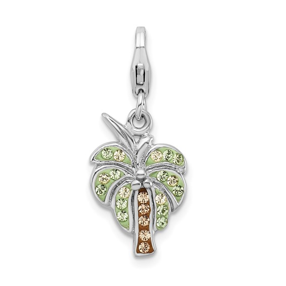 Sterling Silver Crystal Palm Tree with Lobster Clasp Charm