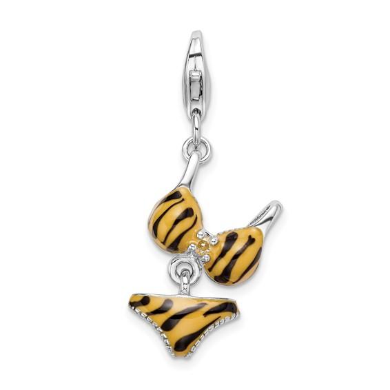Sterling Silver CZ Enamel Tiger Bikini Pendant
