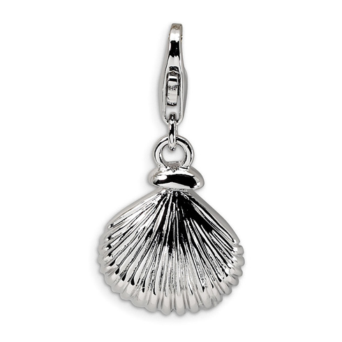 Sterling Silver 1/2in Clam Shell with Lobster Clasp Charm