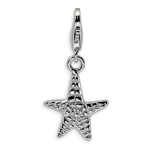 Sterling Silver 1/2in Starfish Charm with Lobster Clasp