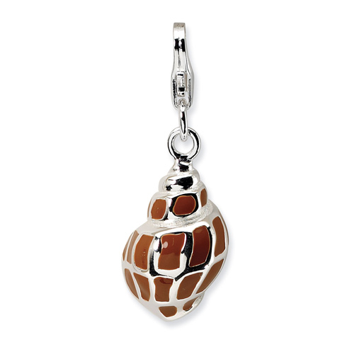 Sterling Silver 3-D Brown Enameled Shell Charm