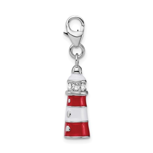 Sterling Silver Enamel Swarovski Crystal Lighthouse Charm