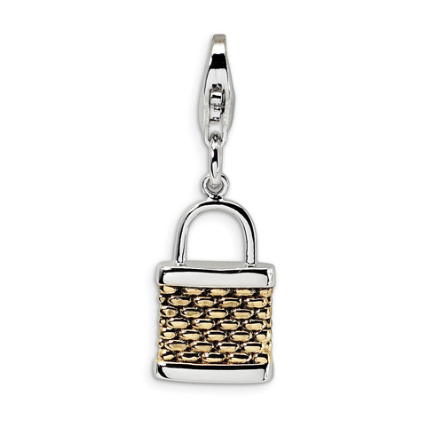 Sterling Silver Gold-plated 3-D Fishing Basket Charm
