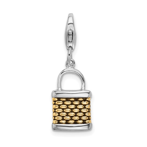 Sterling Silver Gold-plated 3-D Fishing Basket with Lobster Clasp Charm