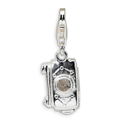 Sterling Silver 3-D Movable Camera with Lobster Clasp Charm