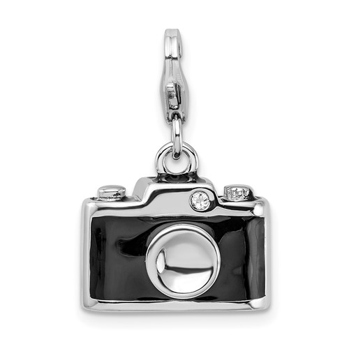 Sterling Silver Enamel Swarovski Crystal Camera with Lobster Clasp Charm