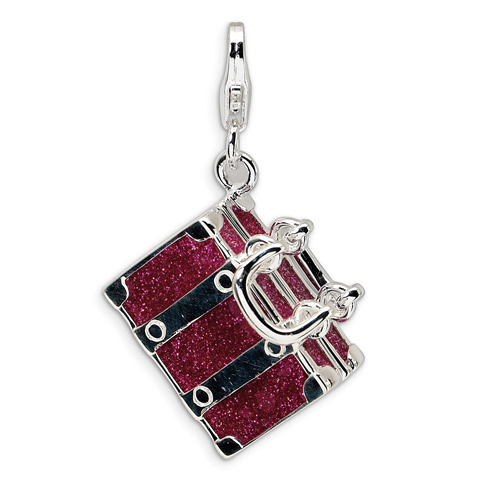 Sterling Silver 3-D Enameled Fuschia Luggage with Lobster Clasp Charm