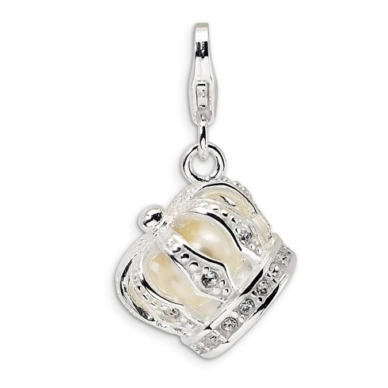 Sterling Silver Swarovski Crystal & Freshwater Cultured Pearl Crown Charm