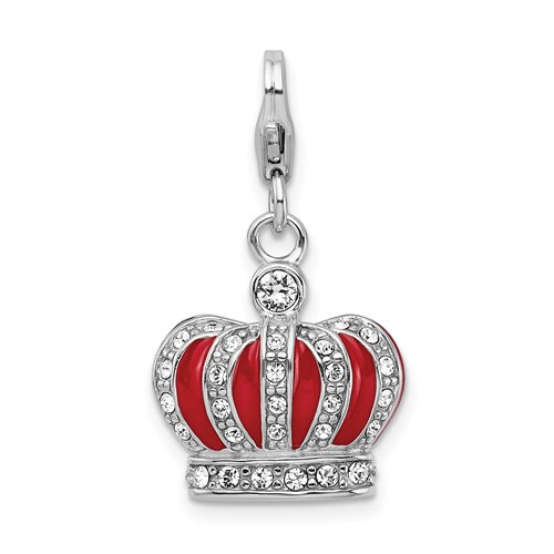 Sterling Silver Swarovski Crystal & Red Enamel Crown Charm