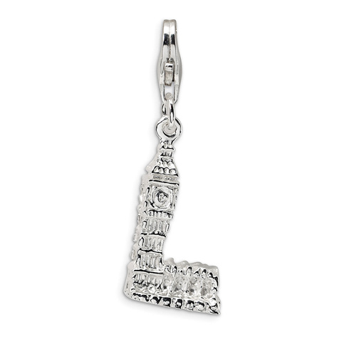 Sterling Silver 3-D Big Ben Charm with Clasp