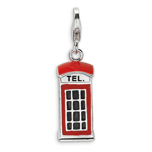 Sterling Silver 3-D Red Enameled Telephone Booth with Lobster Clasp Charm