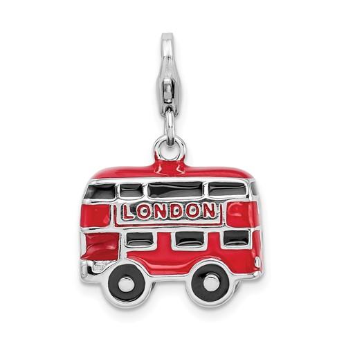 Sterling Silver 3-D Enamel Double Decker London Bus Charm