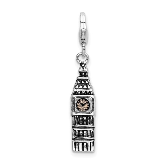 Sterling Silver 3-D Antiqued Big Ben with Lobster Clasp Charm