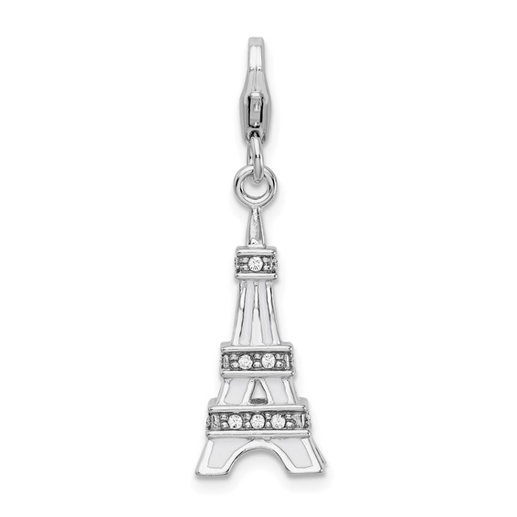 Sterling Silver 3-D Enamel Swarovski Crystal Eiffel Tower Charm