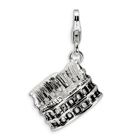 Sterling Silver 3-D Antiqued Colosseum with Clasp Charm