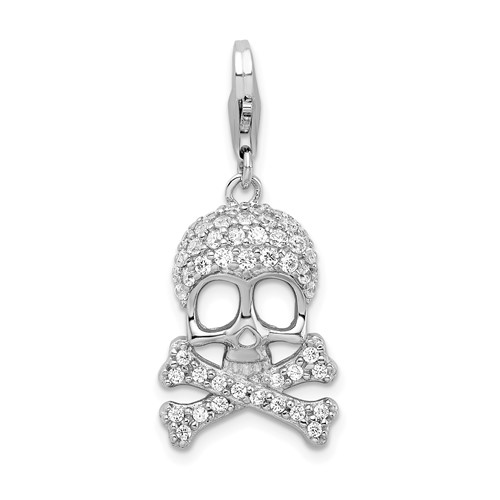 Sterling Silver CZ Skull and Cross Bones Charm