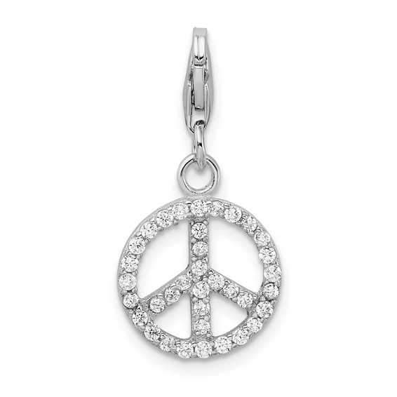 Sterling Silver Small CZ Peace Sign with Lobster Clasp Charm