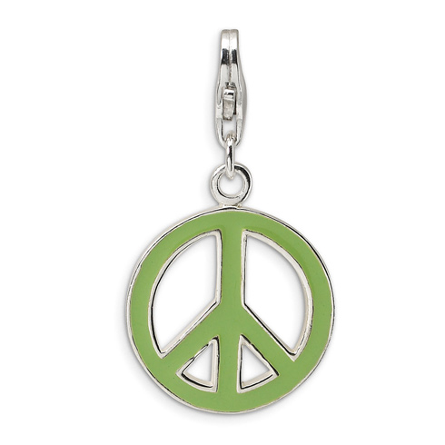 Sterling Silver Green Enameled Peace Symbol with Lobster Clasp Charm