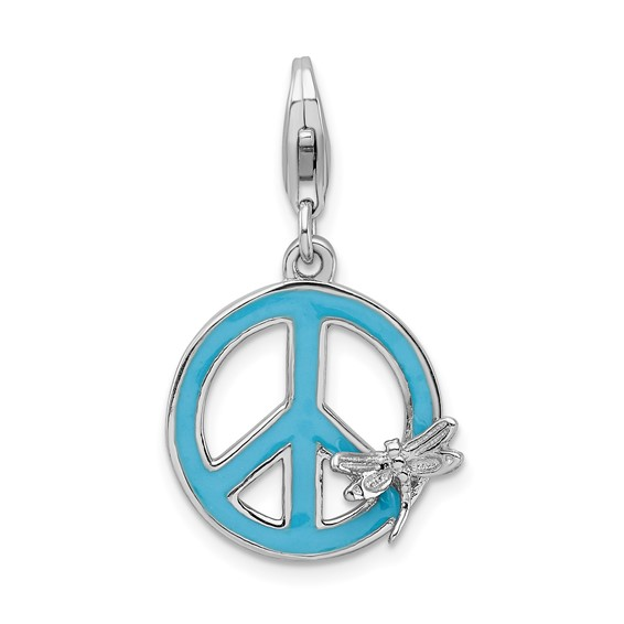 Sterling Silver Enamel Peace Sign with Dragonfly Charm
