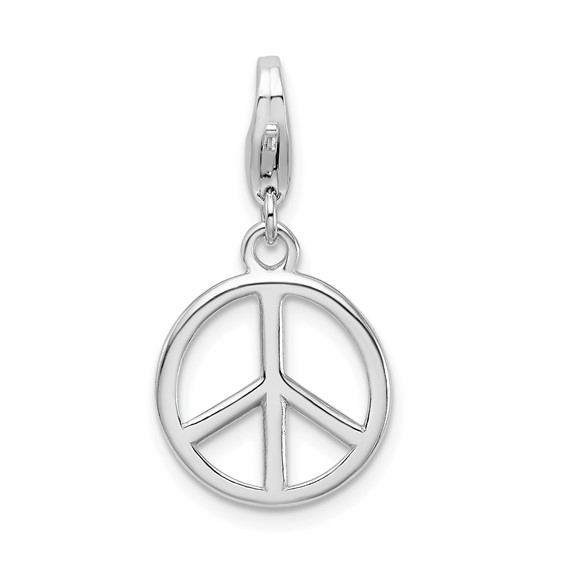 Sterling Silver Small Peace Sign Charm with Lobster Clasp