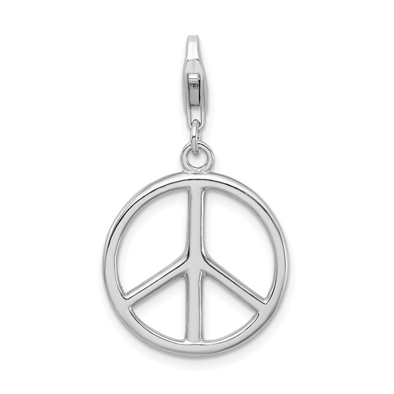 Sterling Silver Large Peace Sign Charm with Lobster Clasp