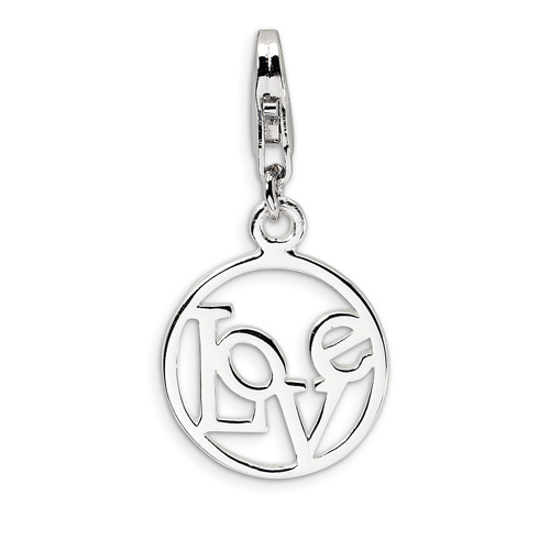 Sterling Silver Love in Circle Charm