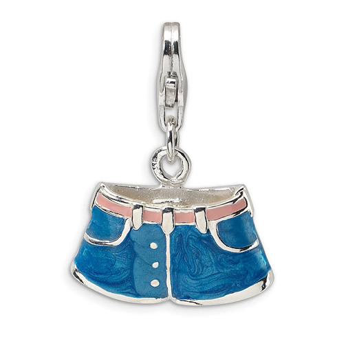 Sterling Silver 3-D Enameled Blue Jean Shorts with Lobster Clasp Charm
