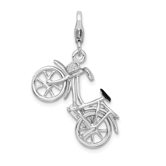 Sterling Silver 3-D Enameled Bicycle Charm