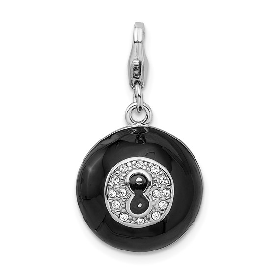 Sterling Silver 3-D Swarovski Crystal Magic 8 Ball with Lobster Clasp Charm