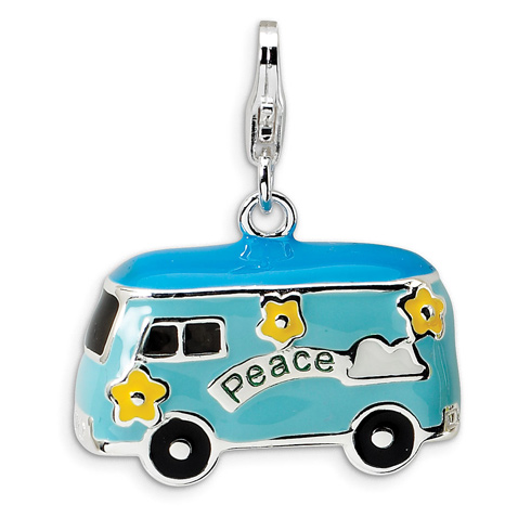Sterling Silver 3-D Enameled Peace Bus Charm