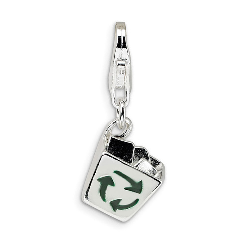Sterling Silver Enamel Recycle Bin with Lobster Clasp Charm