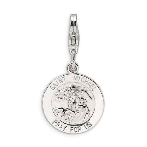 Sterling Silver St Michael Medal with Lobster Clasp Charm