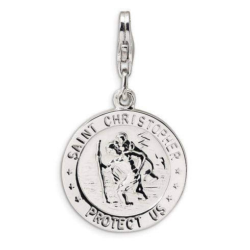 Sterling Silver St Christopher Medal with Lobster Clasp Charm