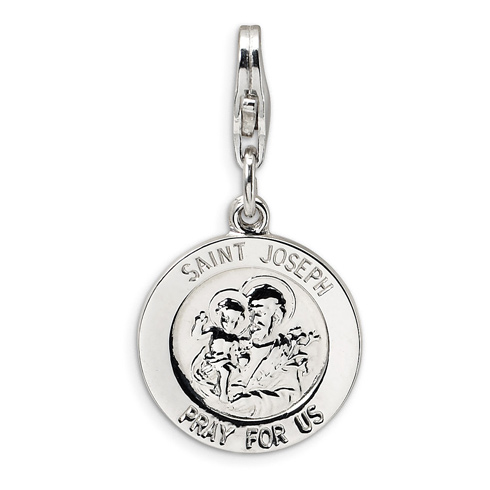 Sterling Silver St Joseph Medal with Lobster Clasp Charm