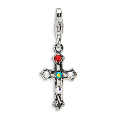 Sterling Silver Crystal Antiqued Cross with Lobster Clasp Charm