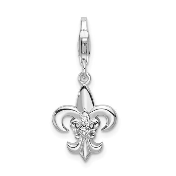 1/2in Sterling Silver CZ Fleur de Lis Charm