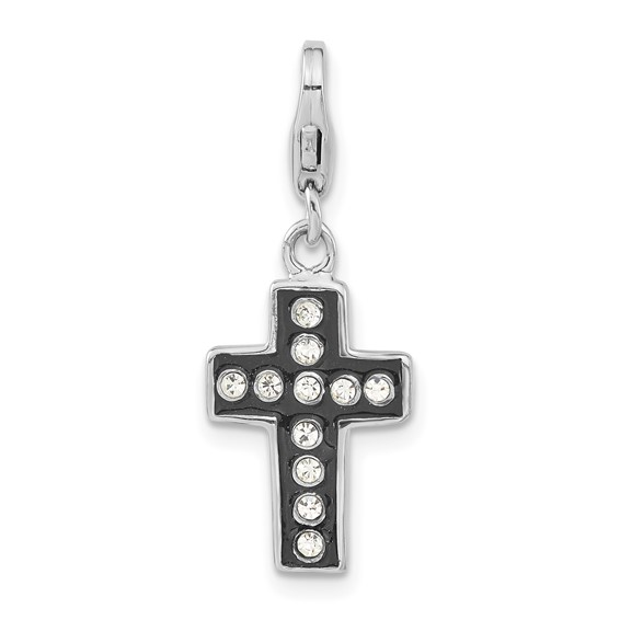 Sterling Silver Crystal Black Enamel & Polished Cross with Lobster Clasp Charm