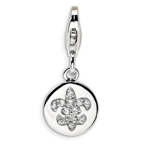 Sterling Silver CZ Round Fleur de Lis Charm