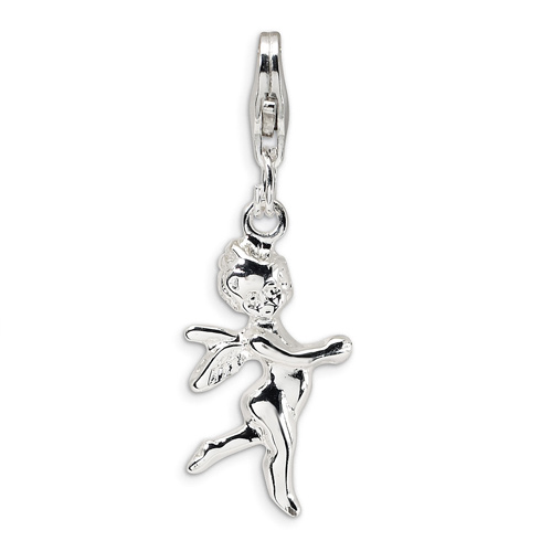 Sterling Silver 3-D Angel Charm with Lobster Clasp