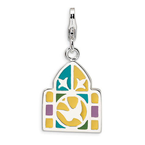 Sterling Silver 3-D Enameled Stain Glass Window with Lobster Clasp Charm