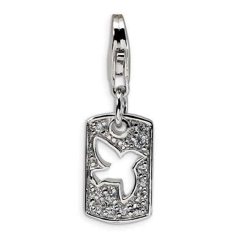 Sterling Silver CZ Dove Clip-on Charm
