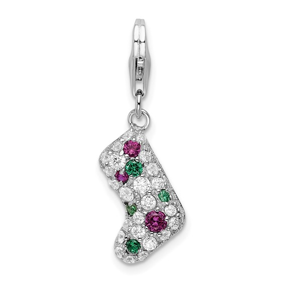Sterling Silver Mulitcolor CZ Stocking with Lobster Clasp Charm